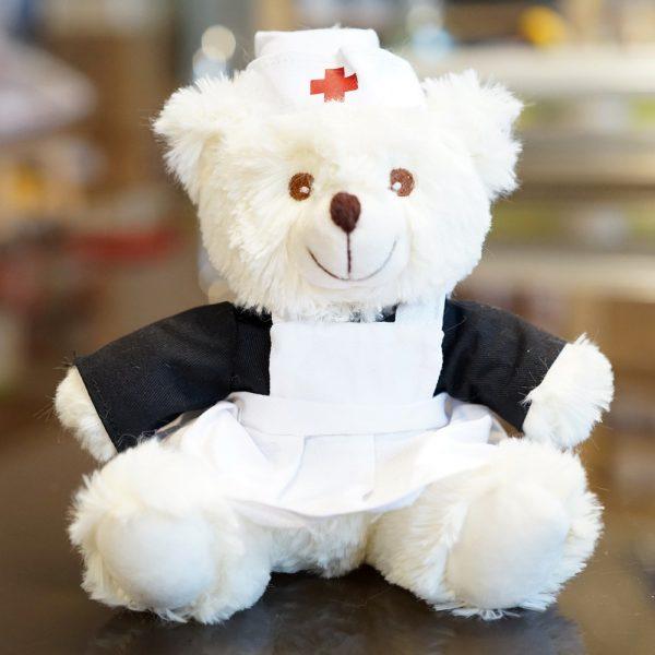 Osita de peluche con traje de enfermera. Un regalo especial para quien está en el hospital o en recuperación.